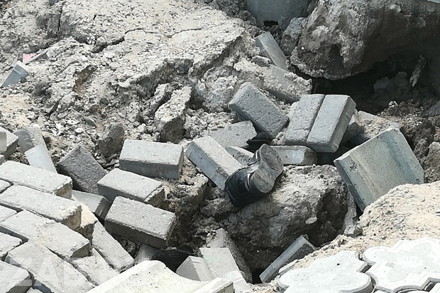 Асфальт обрушился над руслом Кайдаловки на ул. Ленина в Чите
