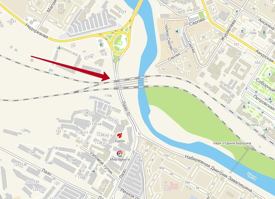 Движение под ж/д мостом на Лазо в Чите перекрыто из-за подъёма Читинки