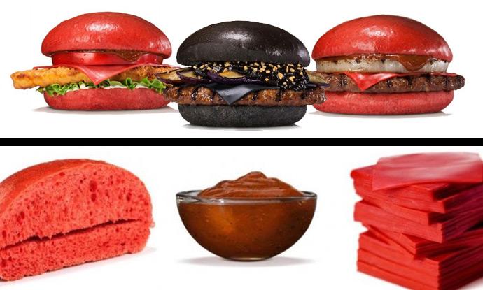 Красные и зеленые булочки для бургеров