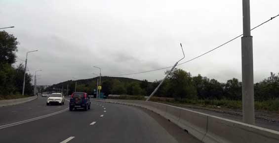 После ДТП в Петропавловске световая опора повисла на проводах (фото)