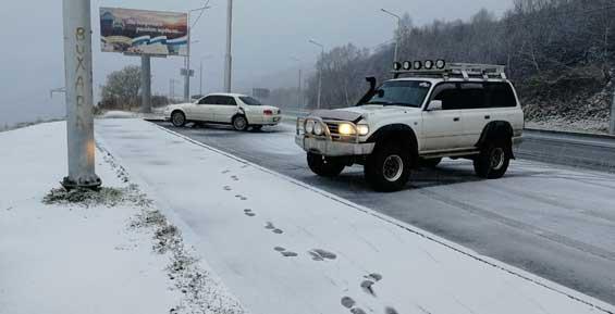 В Петропавловске-Камчатском выпал первый снег