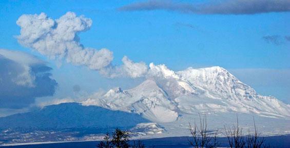 Камчатский вулкан Шивелуч выбросил пепел на высоту 6,5 километра